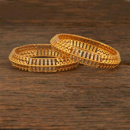 640065 Cz Classic Bangles With Matte Gold Plating
