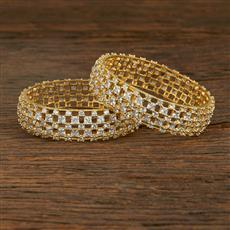 640067 Cz Classic Bangles With Gold Plating