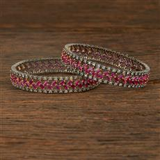 640072 Cz Classic Bangles With Black Plating