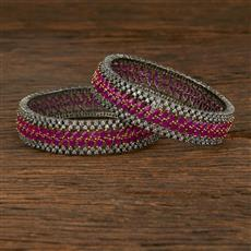 640073 Cz Classic Bangles With Black Plating