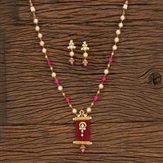 650000 Kundan Mala Pendant Set With Gold Plating
