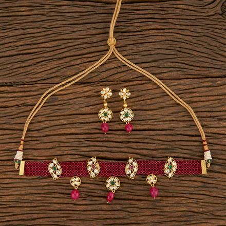 650001 Kundan Choker Necklace With Gold Plating