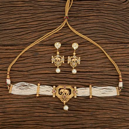 650002 Kundan Choker Necklace With Gold Plating