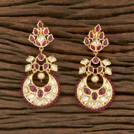 650003 Kundan Chand Earring With Gold Plating