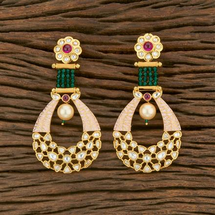 650004 Kundan Chand Earring With Gold Plating