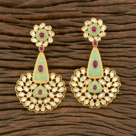 650006 Kundan Long Earring With Gold Plating