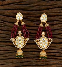 650019 Kundan Jhumkis With Gold Plating