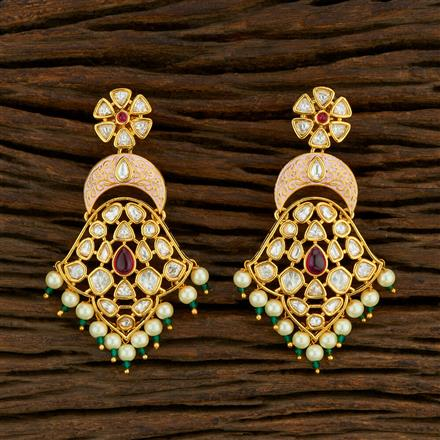 650021 Kundan Classic Earring With Gold Plating
