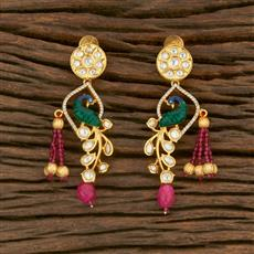 650026 Kundan Peacock Earring With Gold Plating