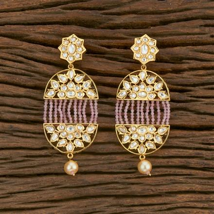 650033 Kundan Long Earring With Gold Plating