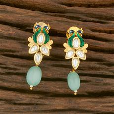 650034 Kundan Peacock Earring With Gold Plating