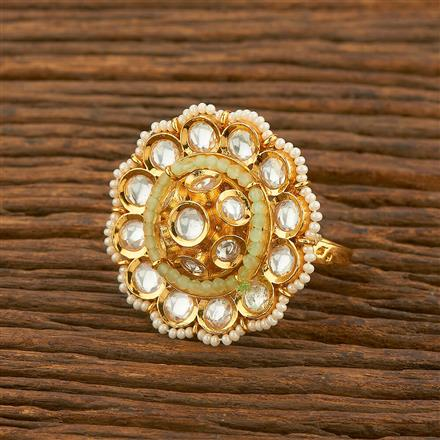 650038 Kundan Classic Ring With Gold Plating