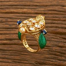 650039 Kundan Peacock Ring With Gold Plating