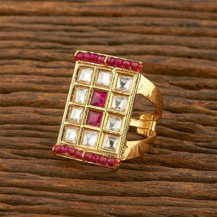650040 Kundan Classic Ring With Gold Plating
