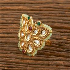 650041 Kundan Trendy Ring With Gold Plating