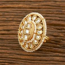 650042 Kundan Classic Ring With Gold Plating