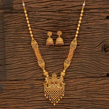 650043 Antique Peacock Pendant Set With Matte Gold Plating