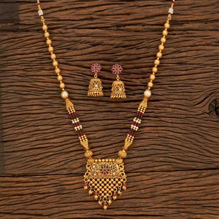 650044 Antique Mala Pendant Set With Gold Plating