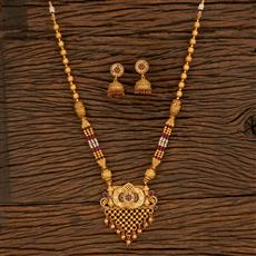 650045 Antique Mala Pendant Set With Gold Plating