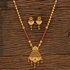 650046 Antique Mala Pendant Set With Matte Gold Plating