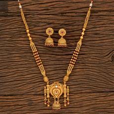 650047 Antique Mala Pendant Set With Matte Gold Plating