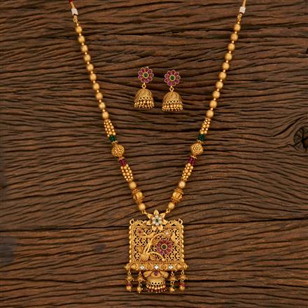 650048 Antique Peacock Pendant Set With Matte Gold Plating