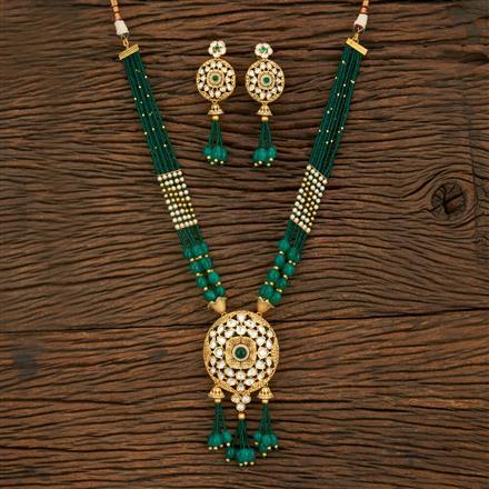 650057 Kundan Mala Pendant Set With Matte Gold Plating