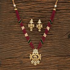 650058 Kundan Mala Pendant Set With Matte Gold Plating