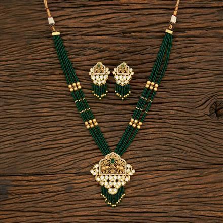 650060 Kundan Mala Pendant Set With Matte Gold Plating