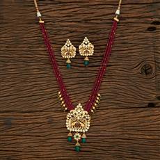 650061 Kundan Mala Pendant Set With Gold Plating