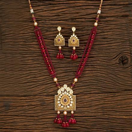 650062 Kundan Mala Pendant Set With Gold Plating