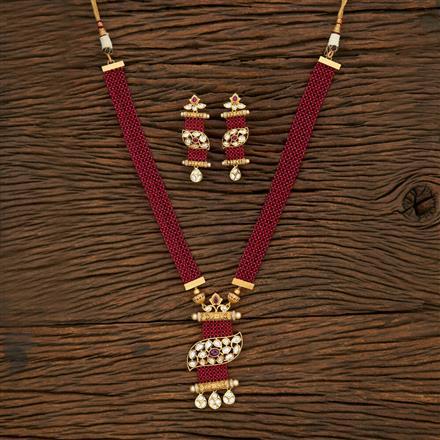 650063 Kundan Mala Pendant Set With Gold Plating