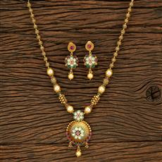 650070 Antique Mala Pendant Set With Gold Plating