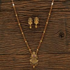650072 Antique Temple Pendant Set With Gold Plating