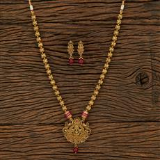650073 Antique Temple Pendant Set With Gold Plating