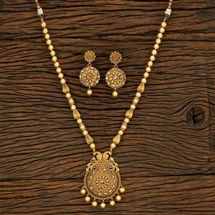 650076 Antique Mala Pendant Set With Gold Plating