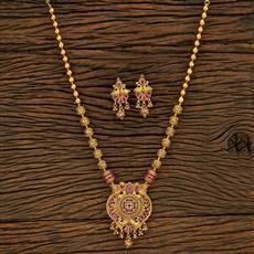 650077 Antique Mala Pendant Set With Gold Plating