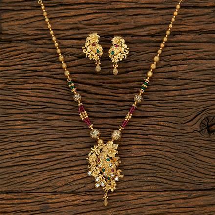 650082 Antique Mala Pendant Set With Gold Plating