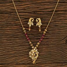650087 Antique Peacock Pendant Set With Gold Plating