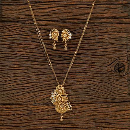 650088 Antique Mala Pendant Set With Matte Gold Plating