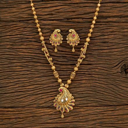 650089 Antique Mala Pendant Set With Matte Gold Plating