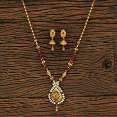 650090 Antique Mala Pendant Set With Gold Plating