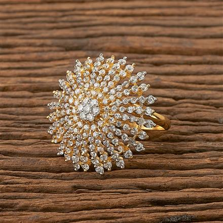 65177 CZ Classic Ring with 2 tone plating