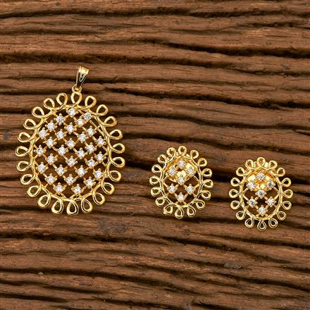 65519 Cz Classic Pendant set with gold plating