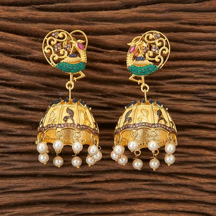 66623 Designer Jhumkis with gold plating