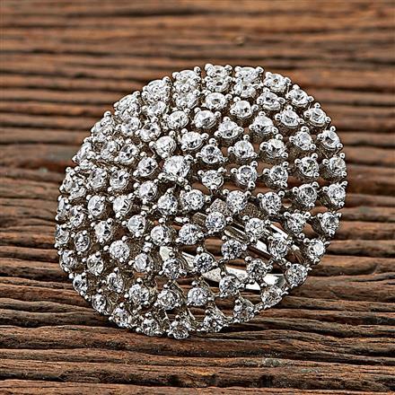 68305 CZ Classic Ring with rhodium plating