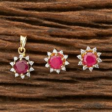 69092 CZ Delicate Pendant set with 2 tone plating