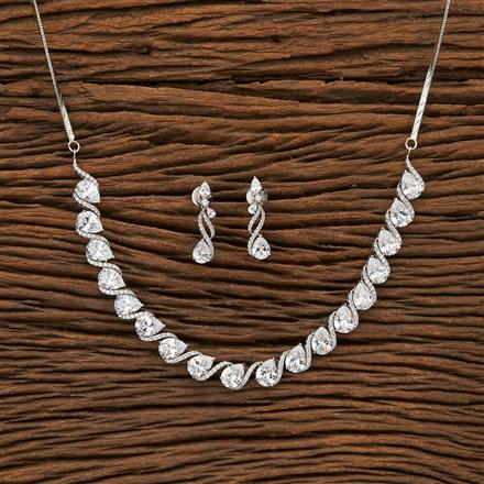 69397 CZ Classic Necklace with rhodium plating