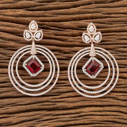 69624 Cz Classic Earring with Rose Gold plating