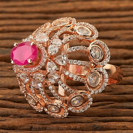 76359 Cz Classic Ring with Rose gold plating